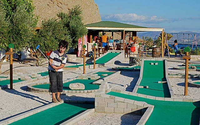 Water sports and mini golf on the beach