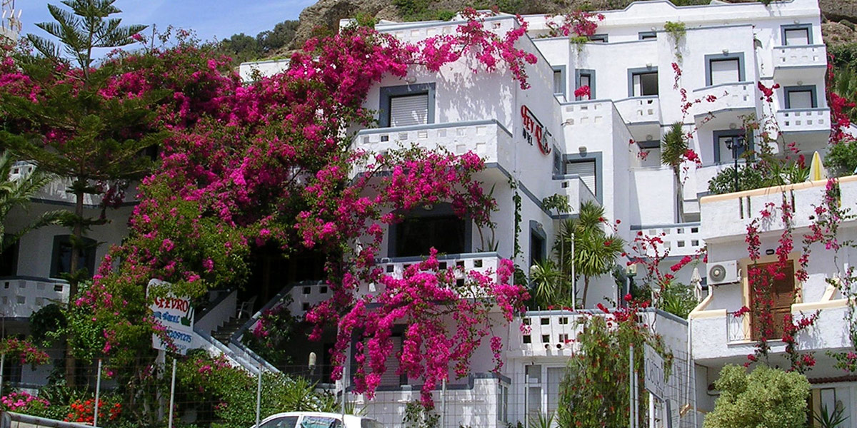 Fevro Hotel- Accommodation with a view to the sea in Agia Galini, Crete